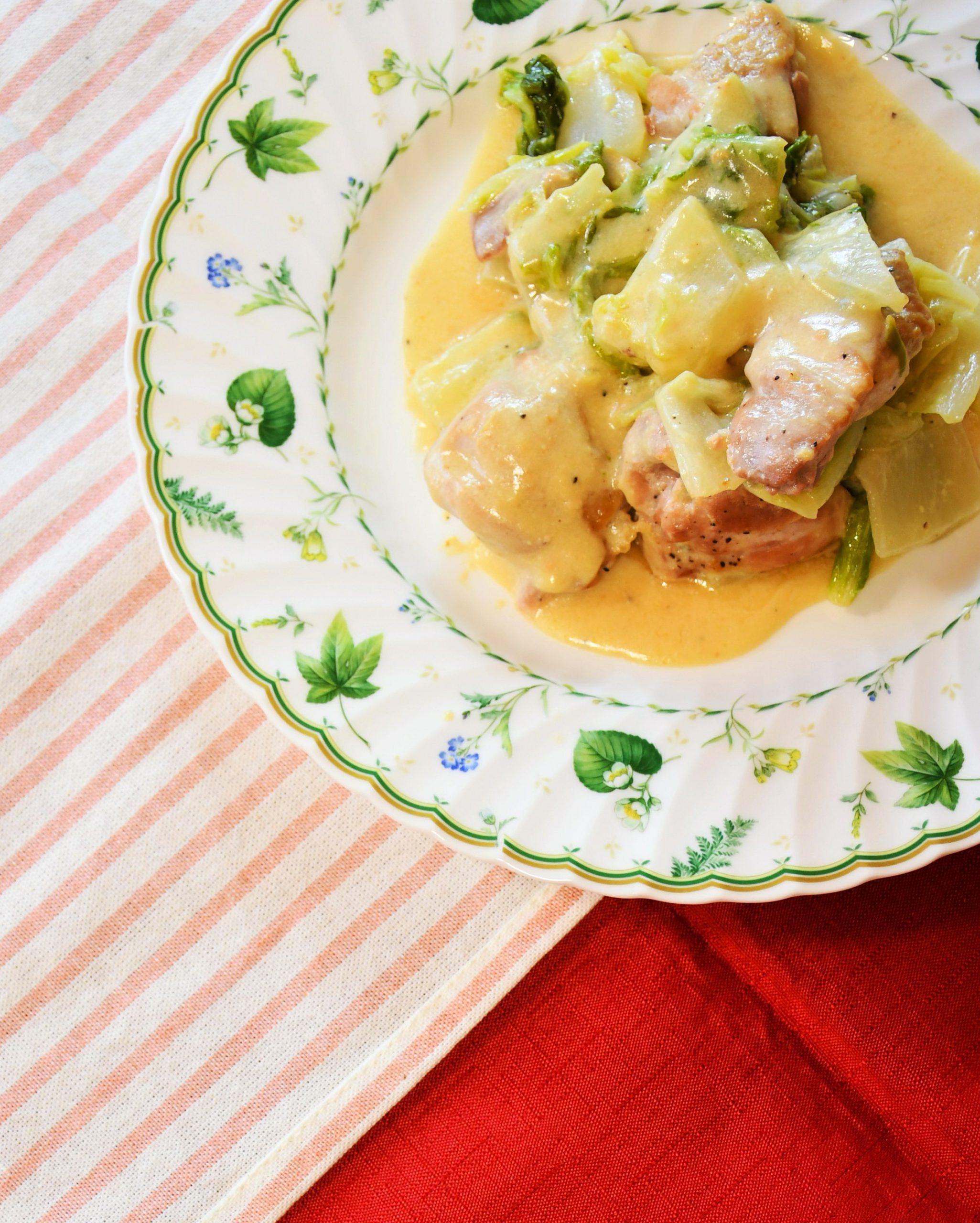 米粉の鶏肉と白菜のクリーム煮